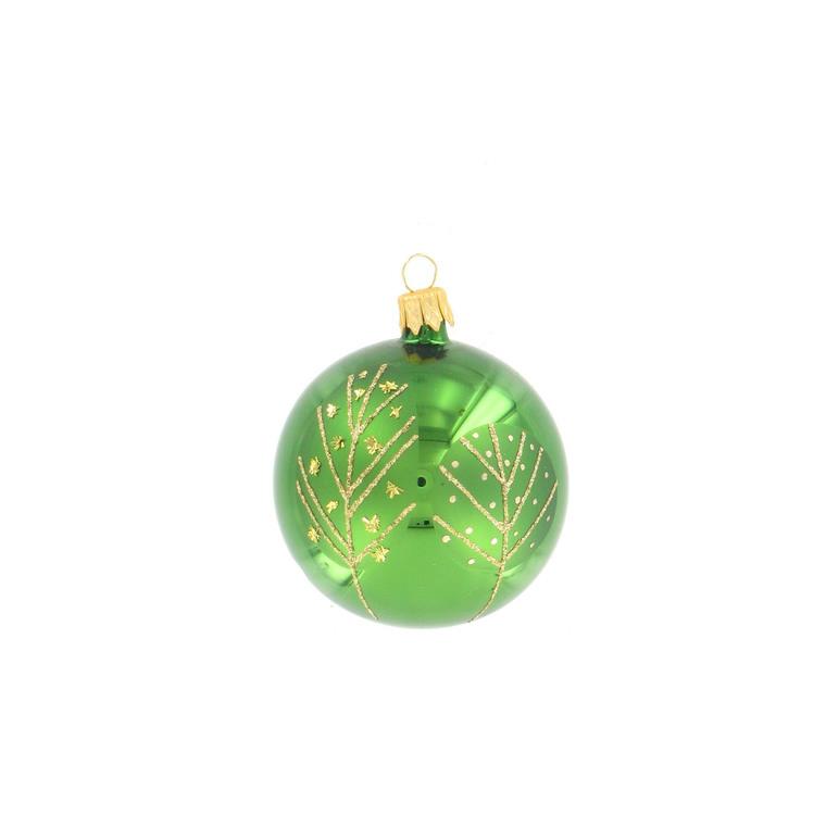 Boule décorée verte - 7 cm 348723