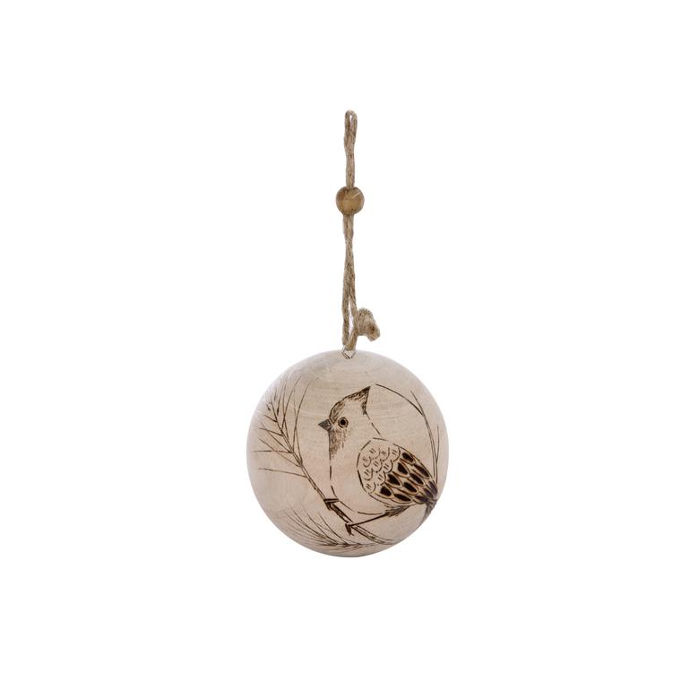 Boule oiseau en bois - 7x7x8.26 cm 348946