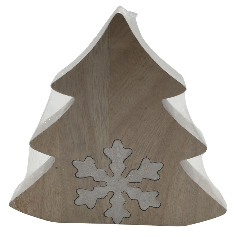 Sapin blanc en bois avec flocon - 17x16.5x2.5cm 349049