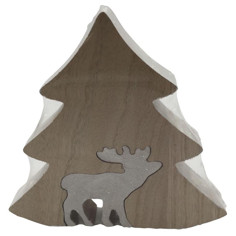 Sapin Blanc en bois avec renne - 17x16.5x2.5cm 349050