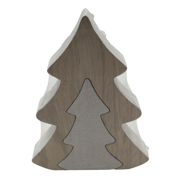 Sapin blanc en bois avec sapin - 16x12x2.5 cm 349051