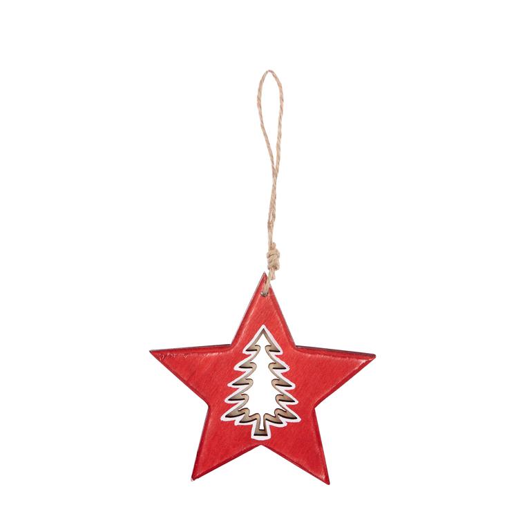 Ornement pour sapin Étoile / Sapin rouge 11x11x0,7  cm 349230