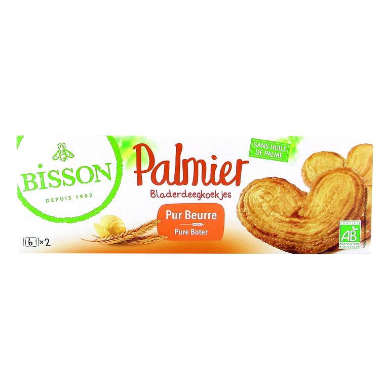 Palmiers pur beurre bio en étui de 100 g 349371