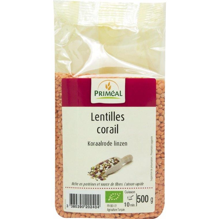 Lentilles corail bio en sachet de 500 g 349403