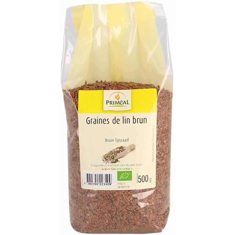 Graines de lin brun bio en sachet de 500 g 349437