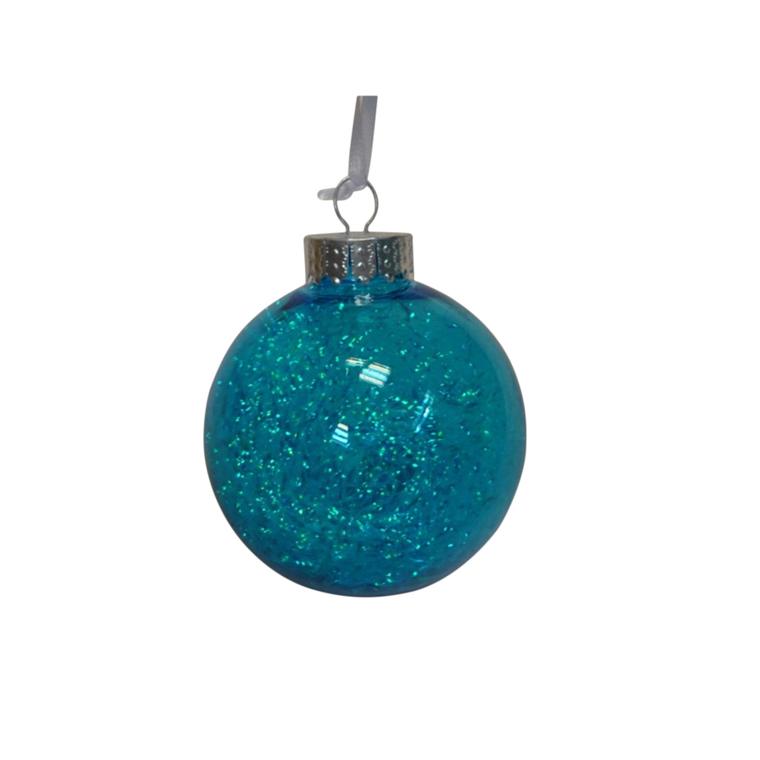 Boule en plastique avec lametta bleue à l'intérieur – Ø 8 cm 351453