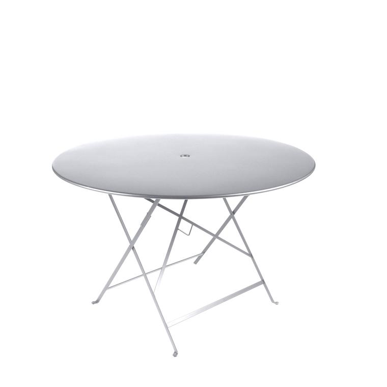 Table ronde pliante Bistro Fermob en acier coloris blanc coton Ø 117 cm 352680