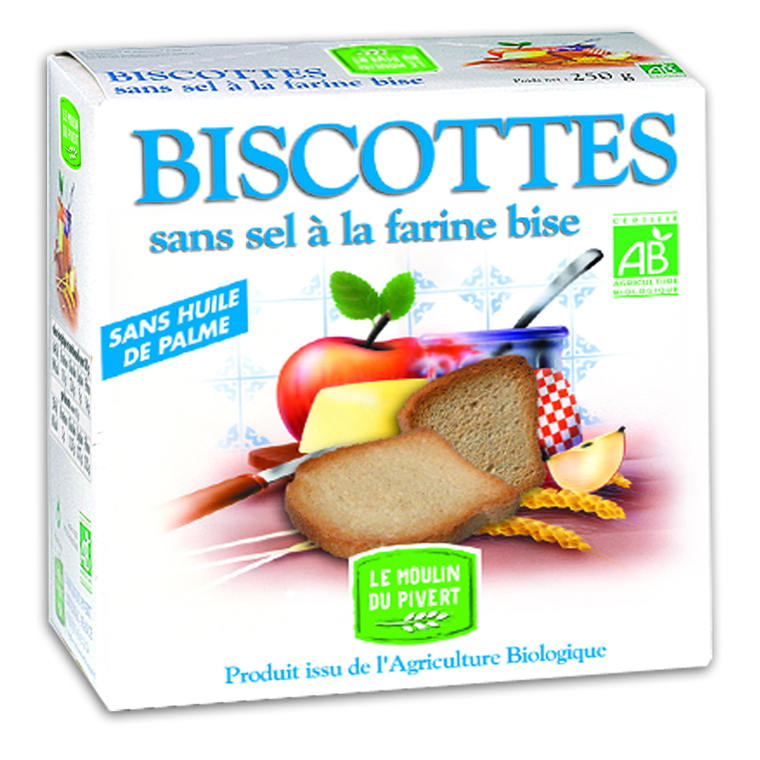 Biscottes sans sel bio à la farine bise 270 g 354720