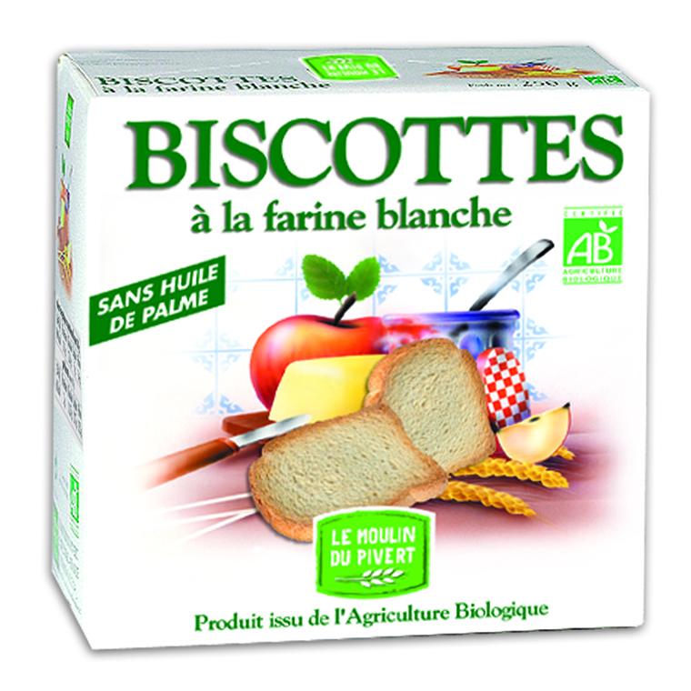Biscottes bio à la farine blanche 270 gBiscottes bio à la farine blanche 270 g 354721