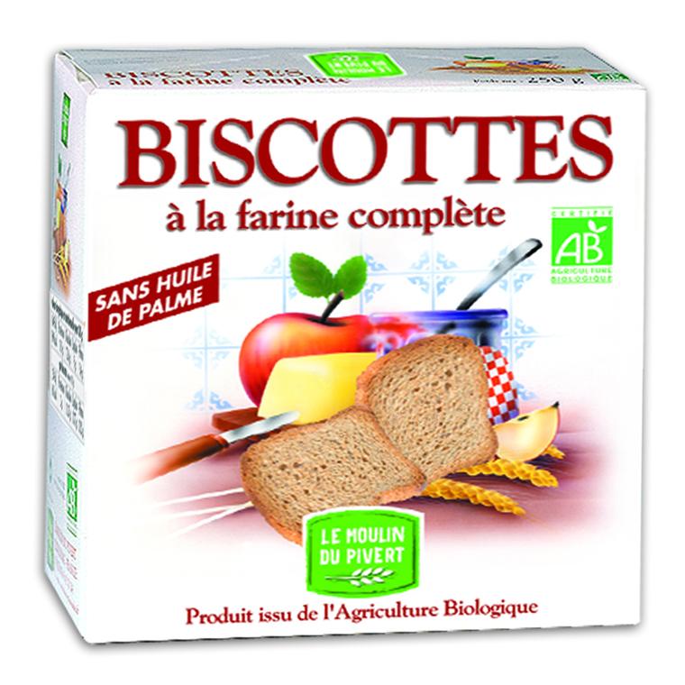 Biscottes bio à la farine complète 270 g 354722