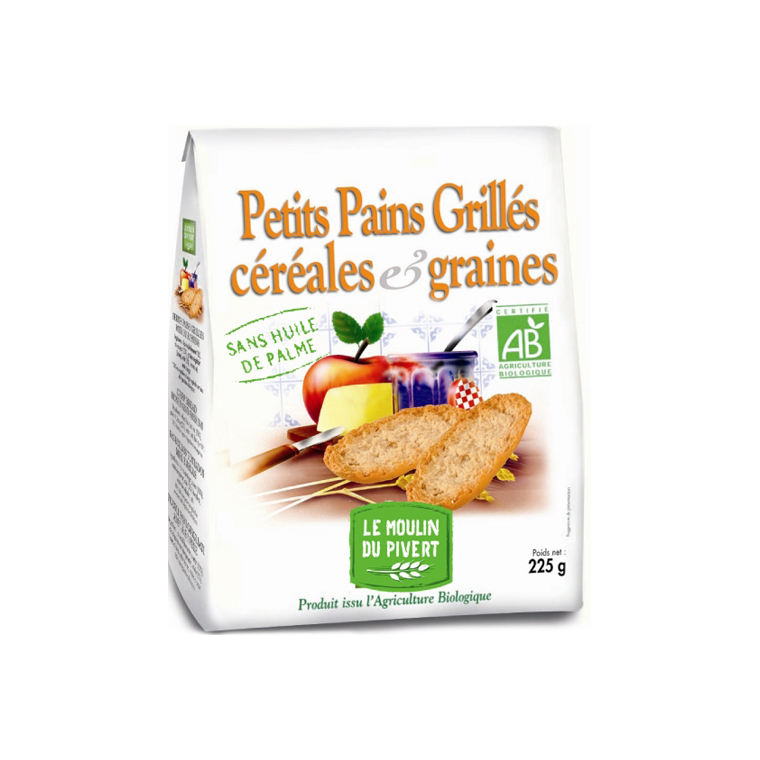 Petits pains grillés céréales et graines Bio - 225 g 354740