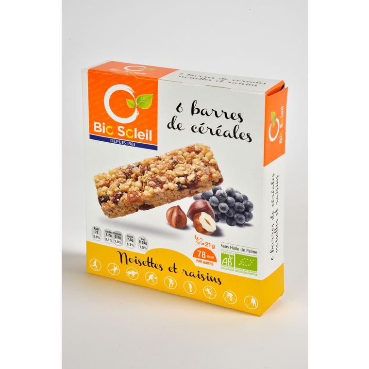 6 barres céréales noisette raisin Biosoleil 125g 354918