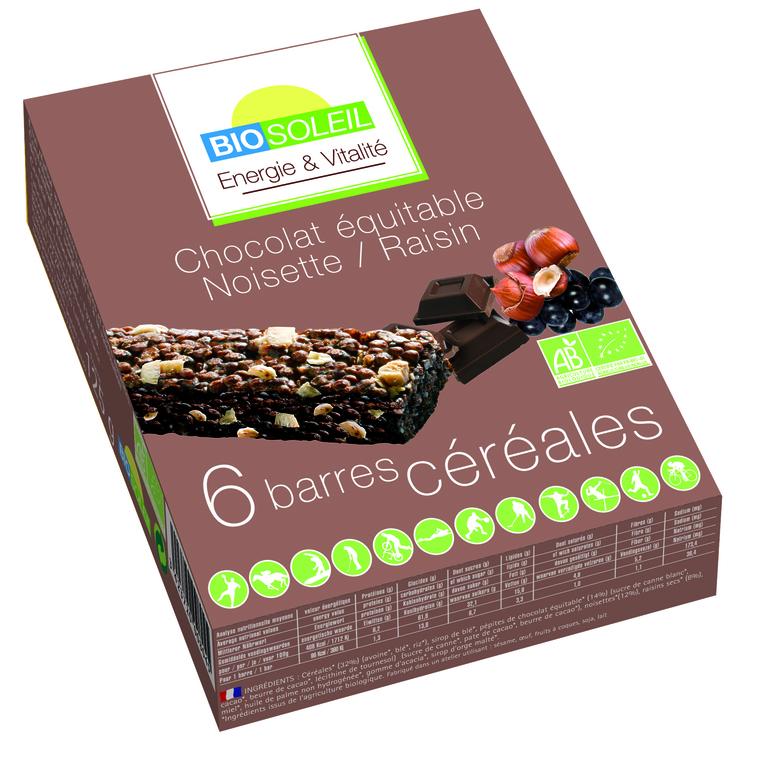 Barres chocolat noisette raisin bio BIOSOLEIL 354920