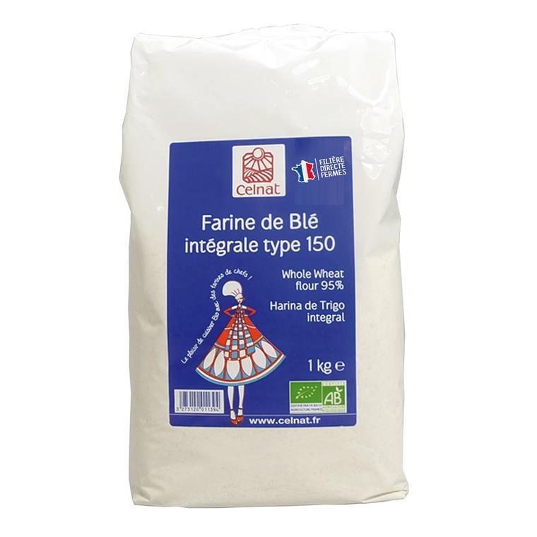 Farine de blé intégrale T150 bio en sachet de 1 kg 356874