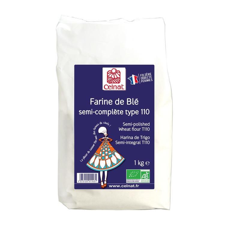 Farine de blé complète T110 bio en sachet de 1 kg 356876