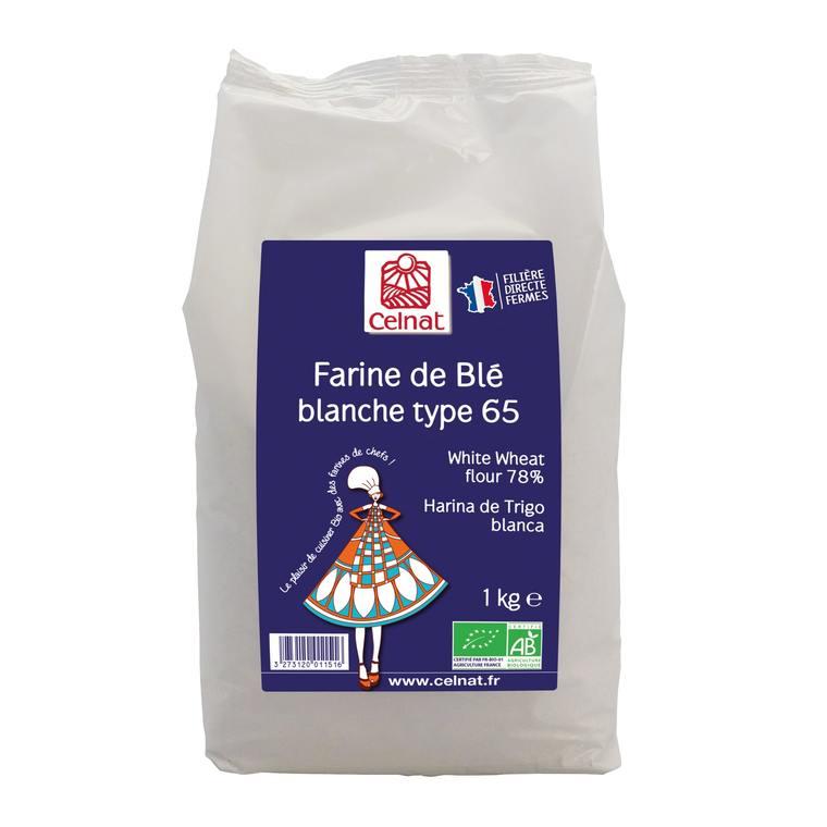 Farine de blé blanche T65 bio en sachet de 1 kg 356880