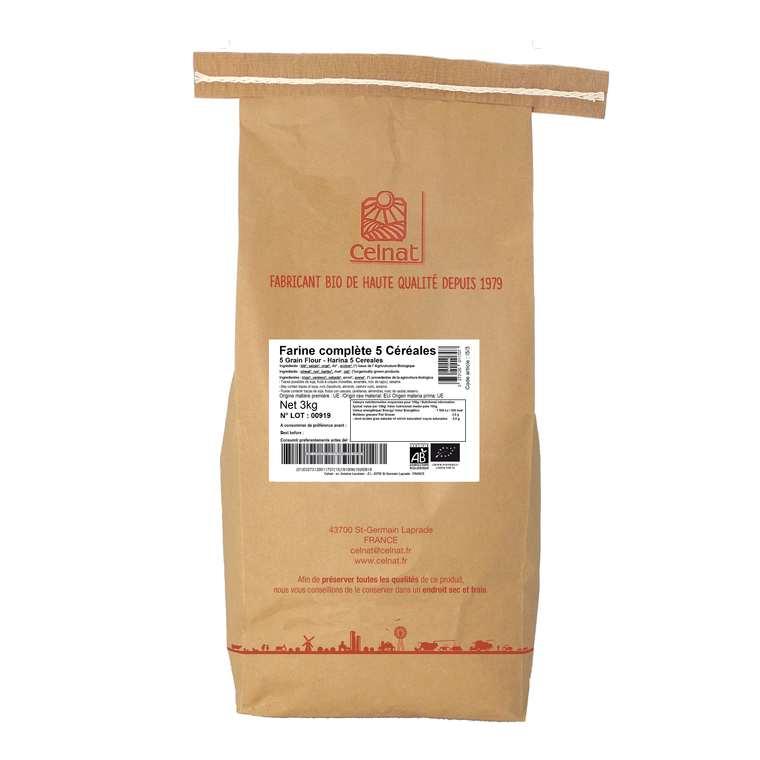 Farine complète 5 céréales bio en sachet de 3 kg 356883
