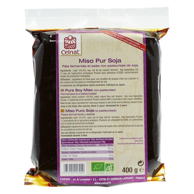 Miso pur soja non pasteurisé bio en sachet de 400 g 356981