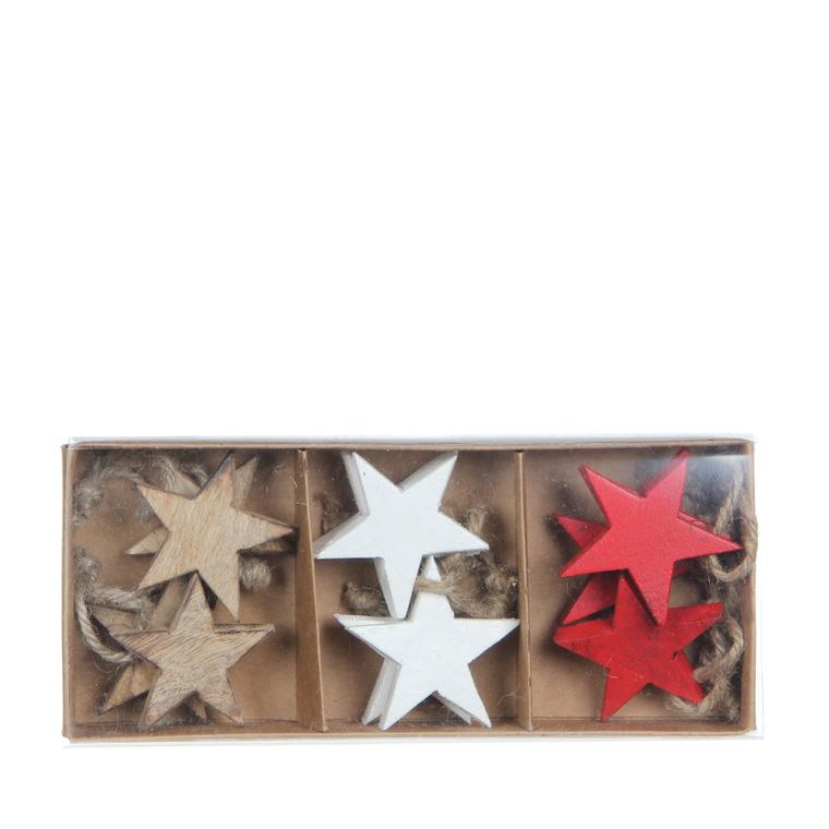 12 étoiles rouge blanche et beige en bois – 22 cm de haut 357473