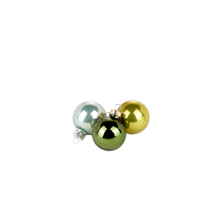 Boîte de 16 boules vertes brillantes - Ø 3.5cm 357526