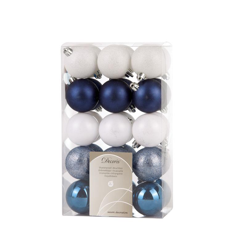 Boite de 30 Boules en plastique couleur bleue et blanche - Ø 6 cm 357529