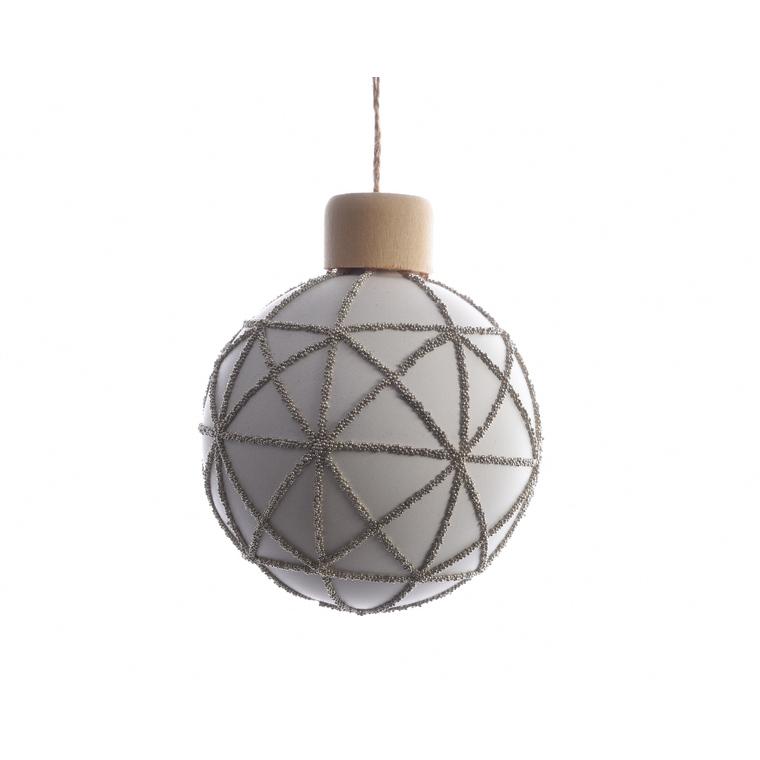 Boule de verre avec déco perle graphique blanc laine 357555