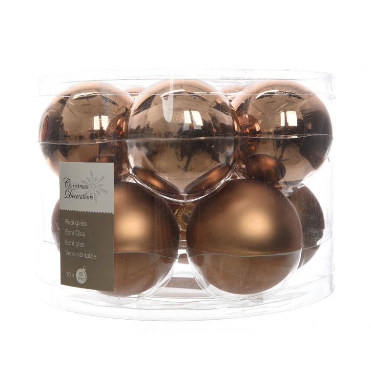 Boite de 10 boules unies brillant-mat suede brown 357609
