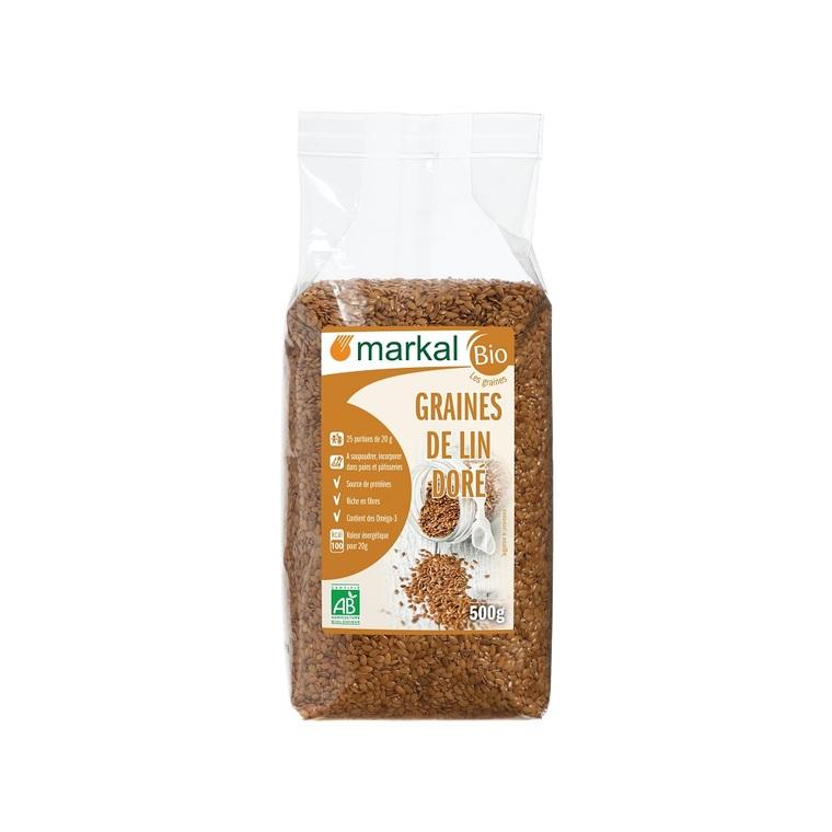 Graines de lin dorées MARKAL 500 g
