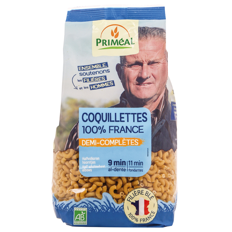 Coquillettes demi-complètes bio 500 g PRIMEAL
