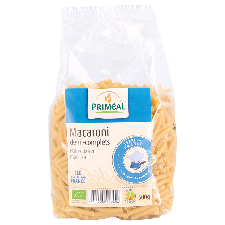 Macaronis demi complets 500 g PRIMEAL