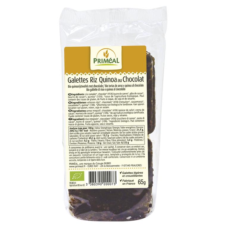 Galettes riz quinoa chocolat PRIMEAL 70 g 358582