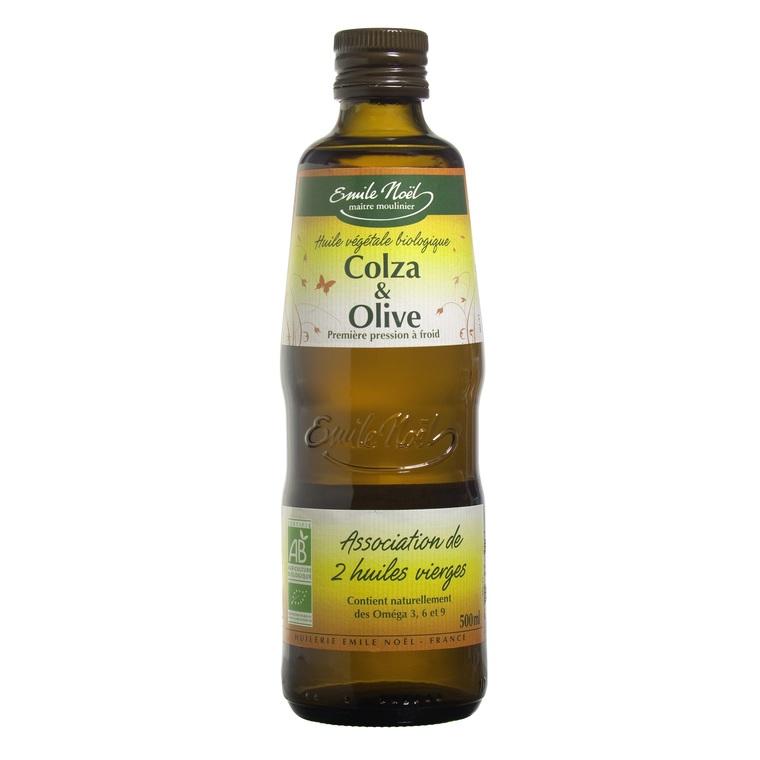 Huile de colza et d'olive bio en bouteille de 500 ml 360012