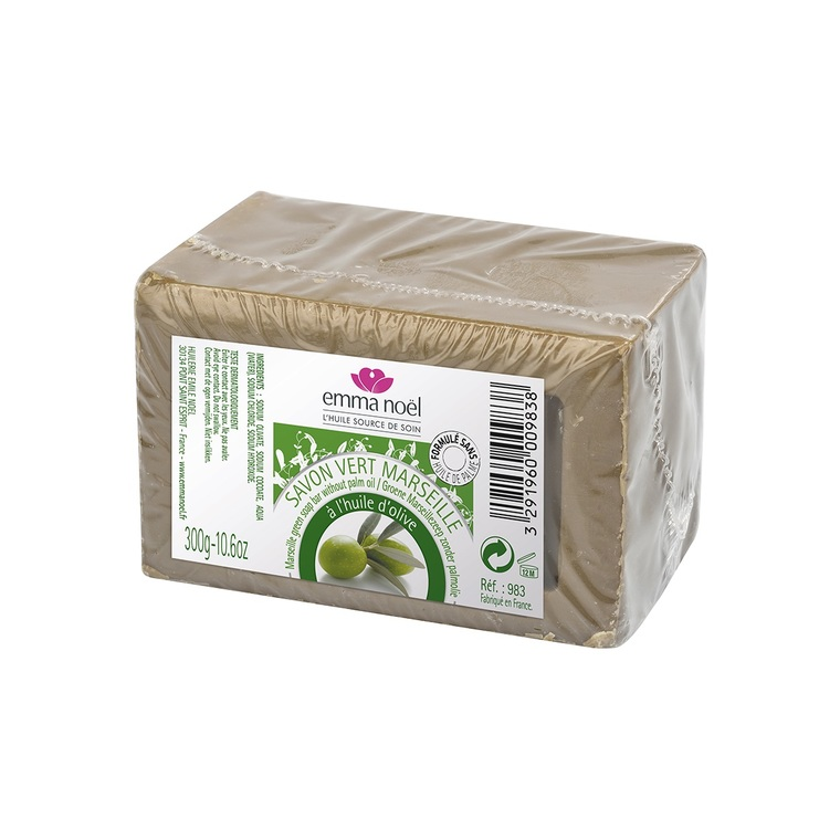 Savon vert sous cellophane bio en format de 300 g 360102