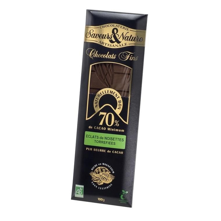 Chocolat noir aux noisettes bio en tablette de 100 g 364536