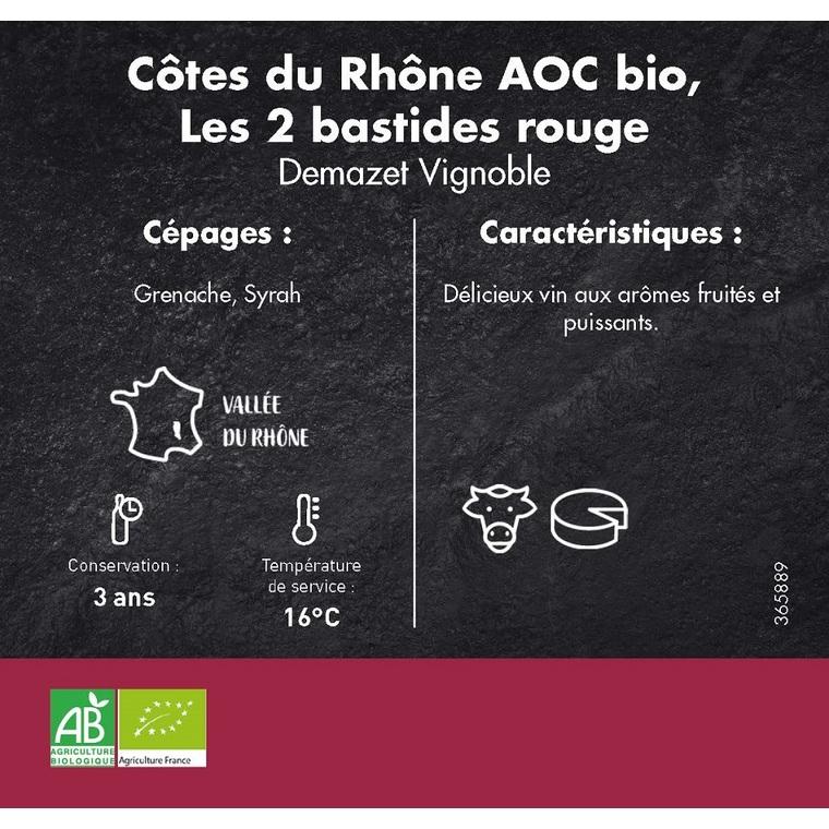 Côtes du Rhône rouge Les 2 Bastides bio 75 cl 365889