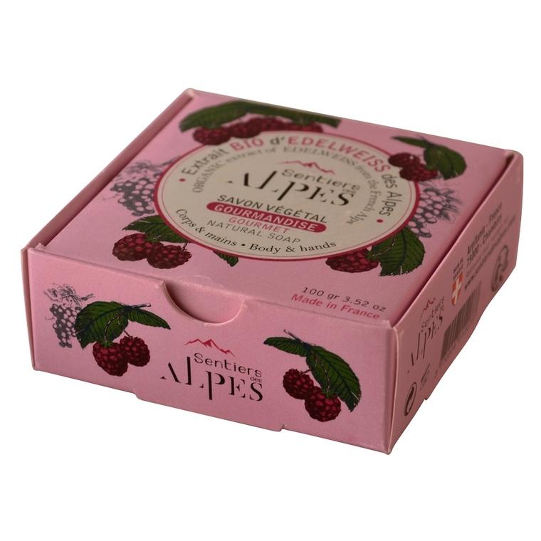 Savon solide sentier des Alpes framboise raisin 100g. 366312
