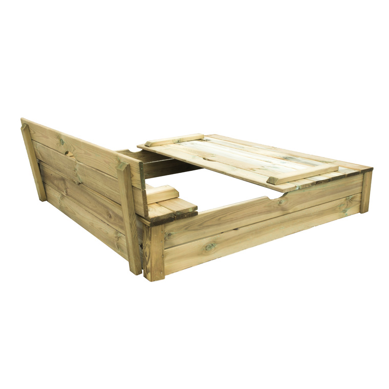 Bac à sable SANDY avec bancs rabattables en bois brut 120x120x24 cm 367458