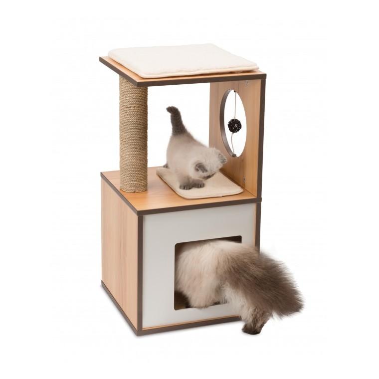 Arbre à chat Vesper Box S en bois couleur noyer 32x32 cm 371208