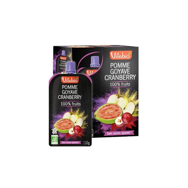 Gourde de fruits pomme goyave et cranberry Vitabio 4 x 120 g 371340