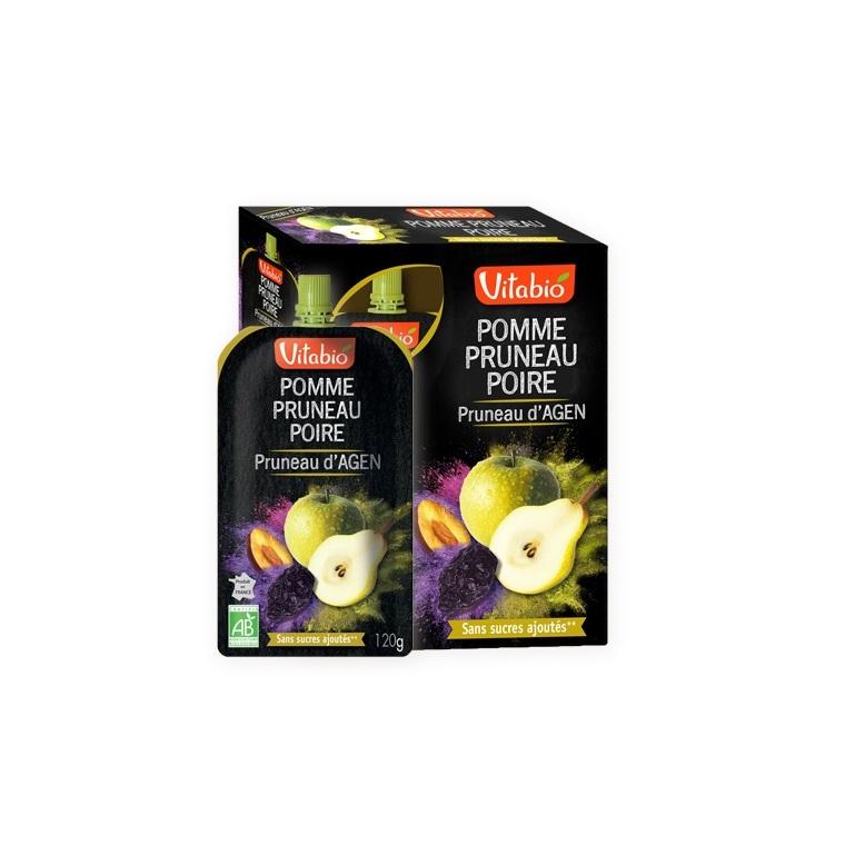Gourde de fruits pomme pruneau et poire Vitabio 4 x 120 g 371341