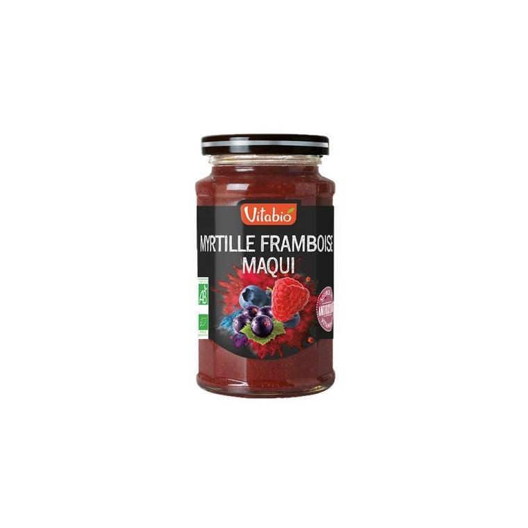 Confiture myrtille framboise et maqui Vitabio pot en verre de 290 g 371346