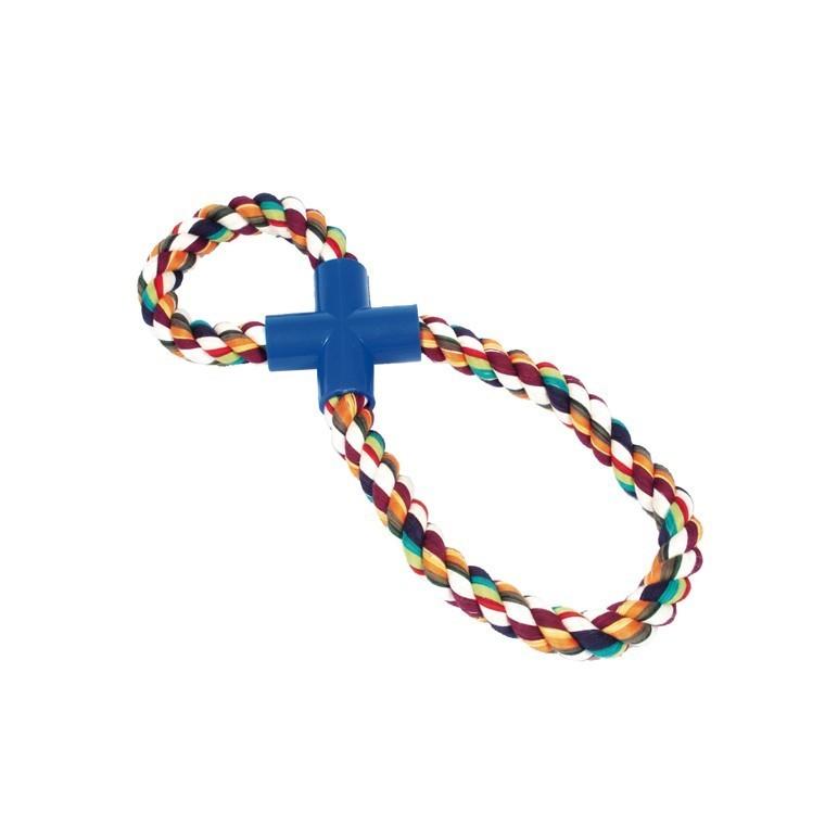 Jouet 30cm corde Super 8 multicolore pour chien 37244