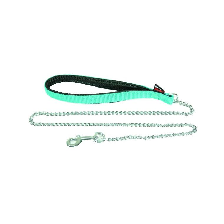 Laisse avec chaîne pour chien coloris turquoise 2x100 cm 37301