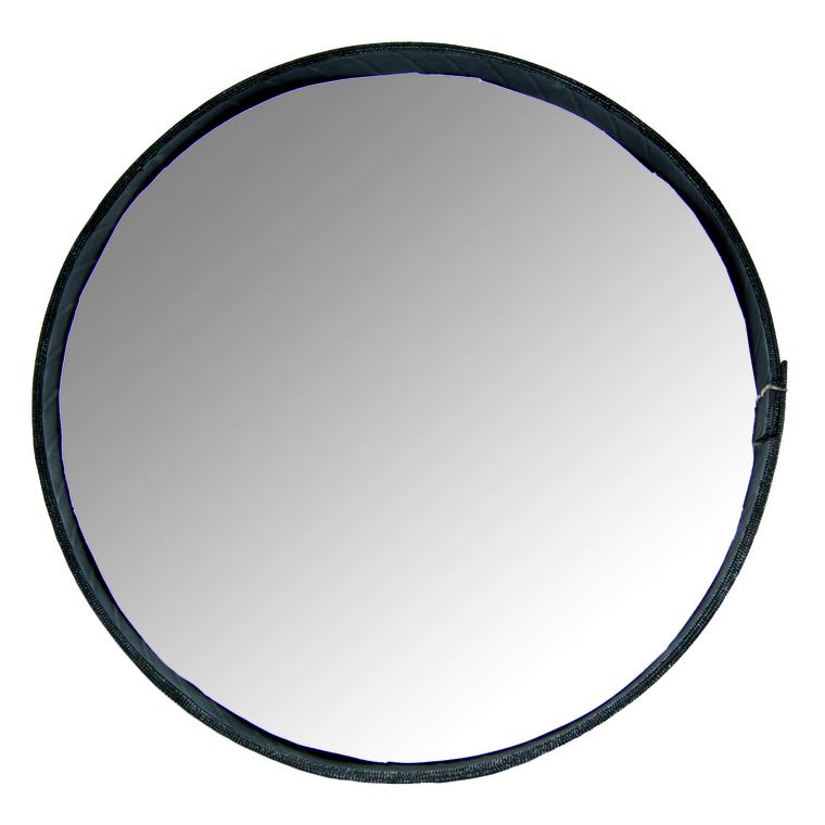 Miroir rond cerclé de pneu recyclé noir Grand modèle H 6 x Ø 47 cm 374913