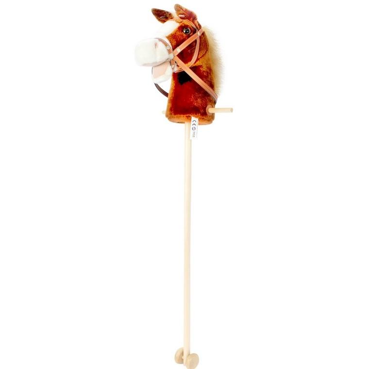 Tête de cheval en peluche Sonique sur pique en bois H 85 cm 378937
