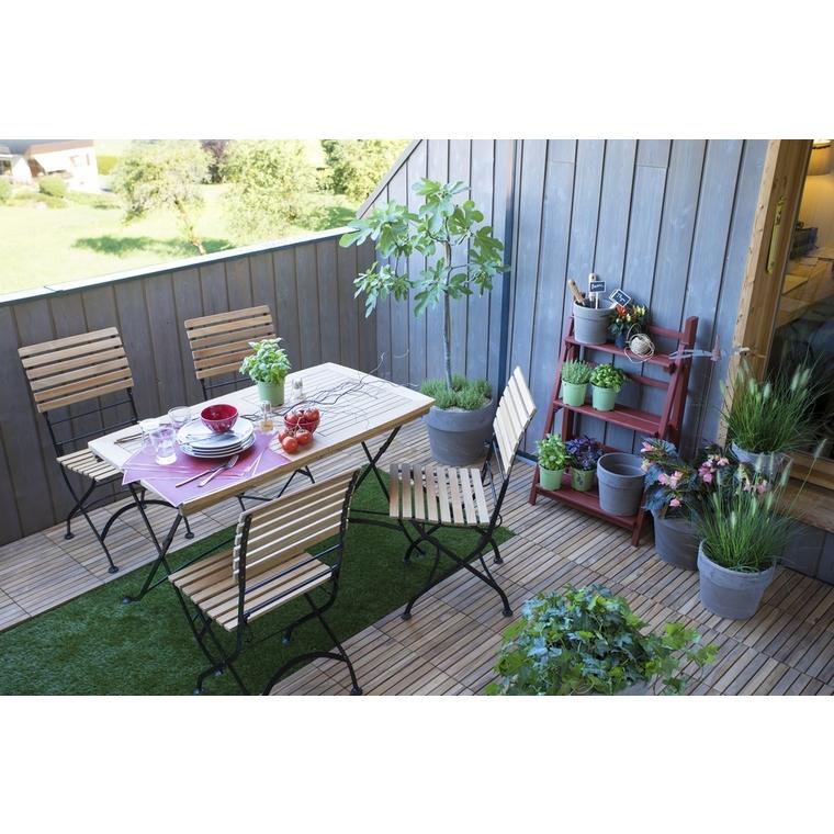 Chaise pliante Norma en teck et métal 43 x 54 x 88 cm 379143