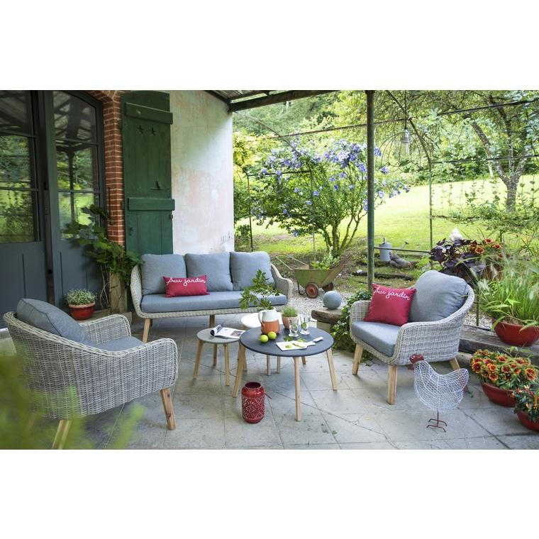 Salon bas Meije coloris naturel en aluminium et résine 379151