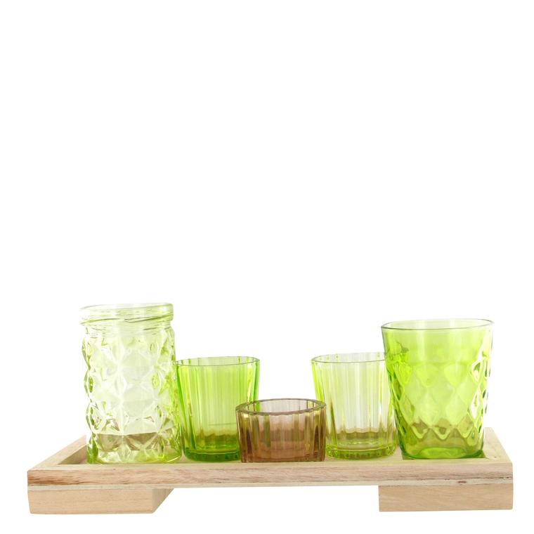 5 photophores en verre sur plateau bois