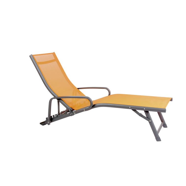 Bain de soleil Iris avec accoudoirs orange 379197