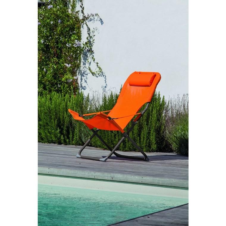 Fauteuil relax orange 127 x 61 x 28,5 cm 379209